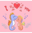 Lovers seahorses greeting card for Valentines day vector image