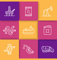petroleum industry line icons vector image