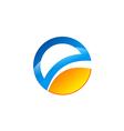 round E letter technology logo vector image