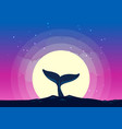 whale tail dives into the sea background of the vector image