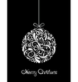 White Christmas ball on black background vector image