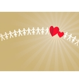 Paper crowd with two hearts vector image