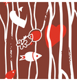 Seamless abstract wallpaper with fishes vector image