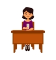 Asian school girl sitting at the desk with a vector image