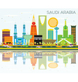 Saudi Arabia Skyline with Color Landmarks vector image