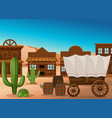 wooden wagon and building in desert vector image