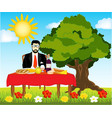 table with meal on nature vector image