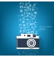 Bacground with flat photo camera icon and travel vector image