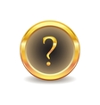 gold button with question sign vector image vector image