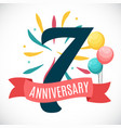 anniversary 7 years template with ribbon vector image