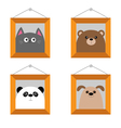 Dog bear cat panda head Picture frame hanging on vector image