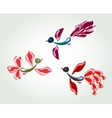 Fanny fairy glass birds and flowers EPS10 vector image