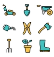 flat line gardening icons set vector image