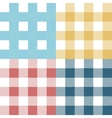 Set of colorful pixel gingham seamless patterns vector image