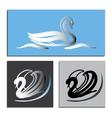 Set white and Black Swans Logo vector image