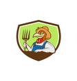 Chicken Farmer Pitchfork Crest Cartoon vector image