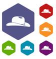 cowboy hat icons set vector image