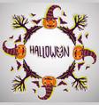 halloween background pumpkin bats and trees hand vector image