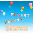 Bunting floating with balloons and sample text vector image vector image