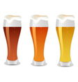 three glass with beer vector image vector image
