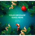 Merry Christmas greeting card with fir twigs vector image