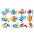 Sticker set with fancy fish vector image