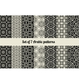 Black and white arabic style patterns vector image