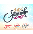 Calligraphy summer setsongs and party on the beach vector image