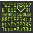 Digital led font alphabet letters and numbers vector image
