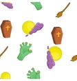 Halloween symbols pattern cartoon style vector image