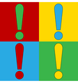 Pop art exclamation mark icons vector image