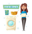 poster with laundry and washing machine vector image