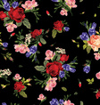 Seamless floral pattern with red roses and pink vector image