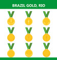 set of gold medals icons brazil rio summerflat vector image