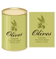 tin can with label of green olives vector image