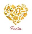 Pasta in shape of heart symbol vector image vector image