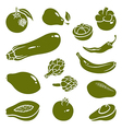 Fruits vegetables silhouettes 2 vector image