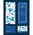 blue green swirly flowers vertical frame vector image