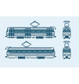 dark blue tram front side back view line style vector image
