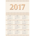 2017 year calendar template vector image