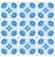 Blue floral ornament on white tile vector image