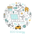 ECO Green Energy Thin Line Icons Set vector image