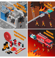 Fireman Isometric Concept vector image