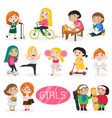 happy girls characters in various actions vector image