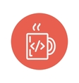 Mug with hot coffee thin line icon vector image