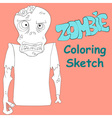 Zombie coloring sketch vector image