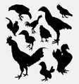 Rooster cock hen chicken silhouette vector image
