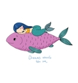 Beautiful little mermaid and big fish vector image