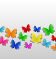 Set cut out colorful butterfly grey paper vector image