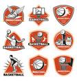colored vintage basketball labels set vector image vector image